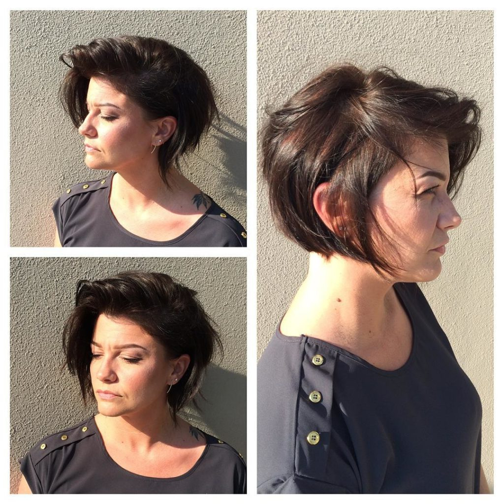 Women's Brunette Textured Messy Asymmetrical Bob Pertaining To Short Messy Asymmetrical Bob Haircuts (View 19 of 20)
