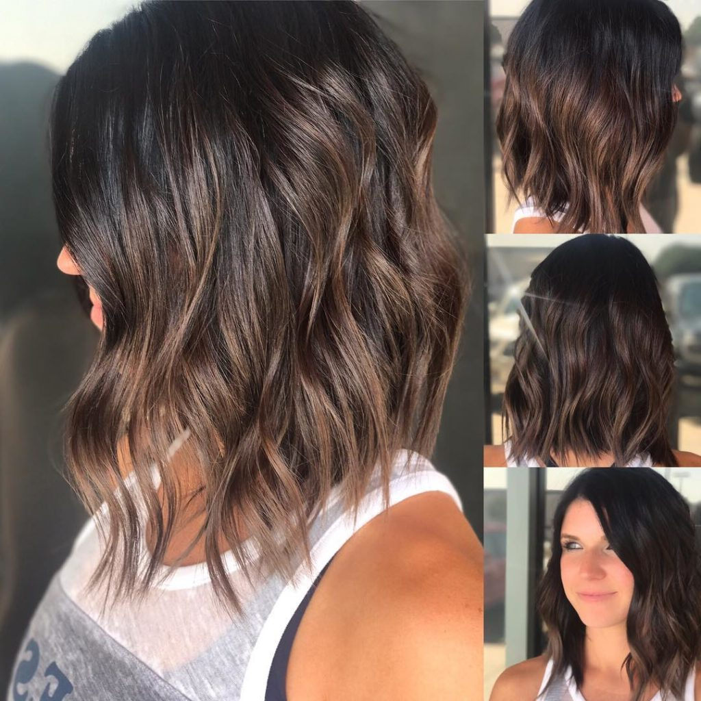 Women's Brunette Wavy Textured Bob With Soft Highlights Medium With Brunette Bob Haircuts With Curled Ends (View 19 of 20)