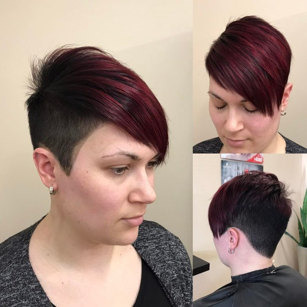 Women's Burgundy Undercut Asymmetrical Pixie In Sweeping Pixie Hairstyles With Undercut (View 17 of 20)