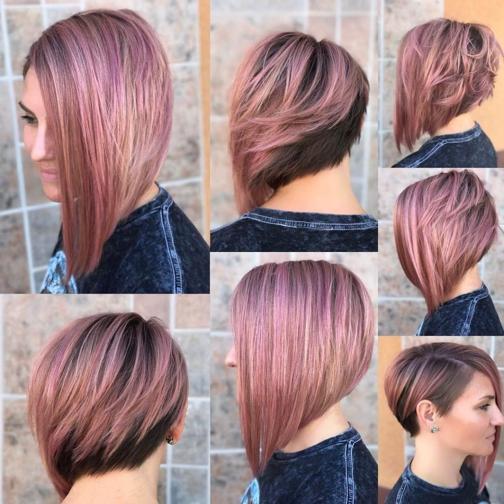 Women's Chic Asymmetrical Bob With Rosy Brown Color And Highlights Throughout Chic Asymmetrical Haircuts (View 5 of 20)