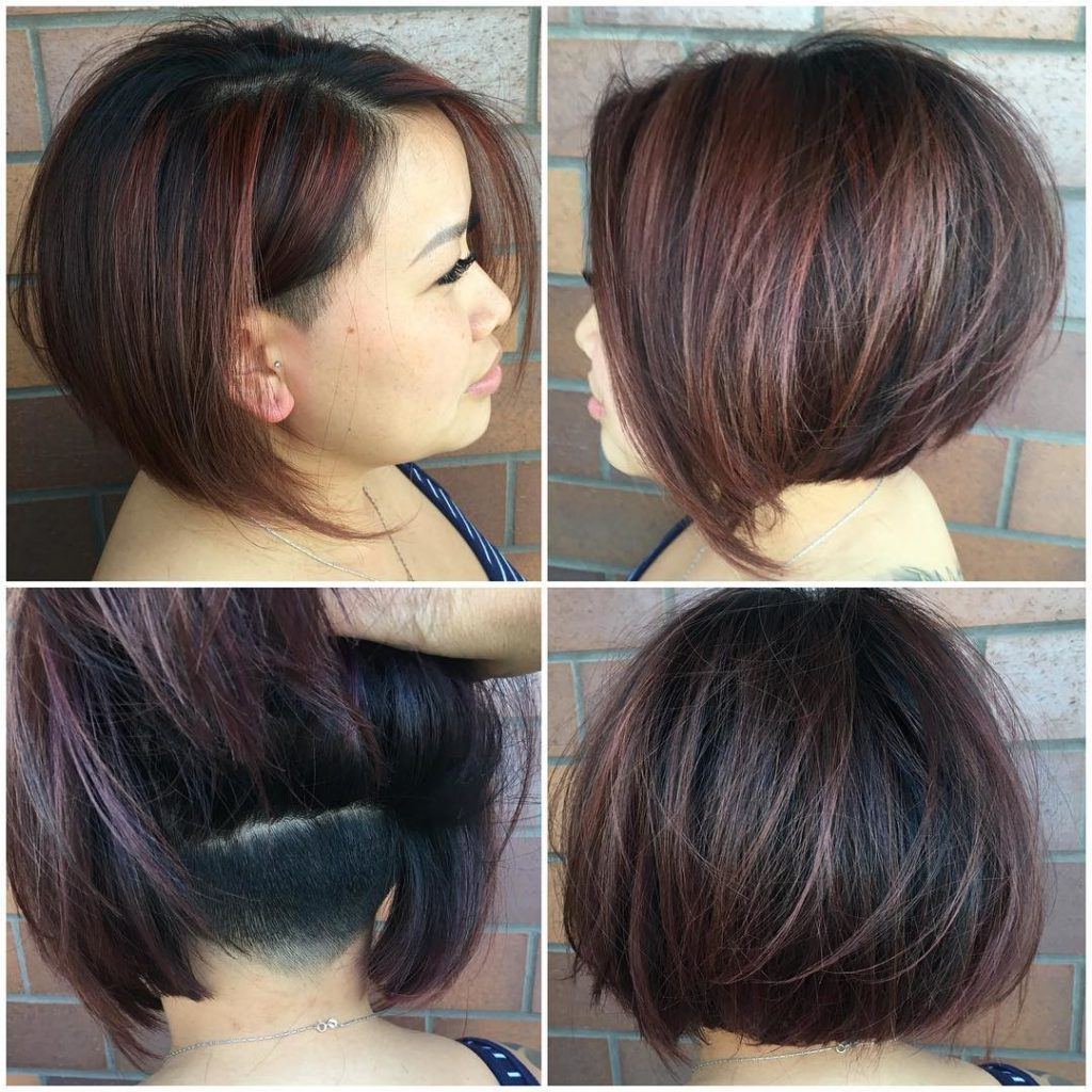 Women's Chic Undercut Stacked Bob On Dark Hair With Burgundy Intended For Black Wet Curly Bob Hairstyles With Subtle Highlights (View 10 of 20)