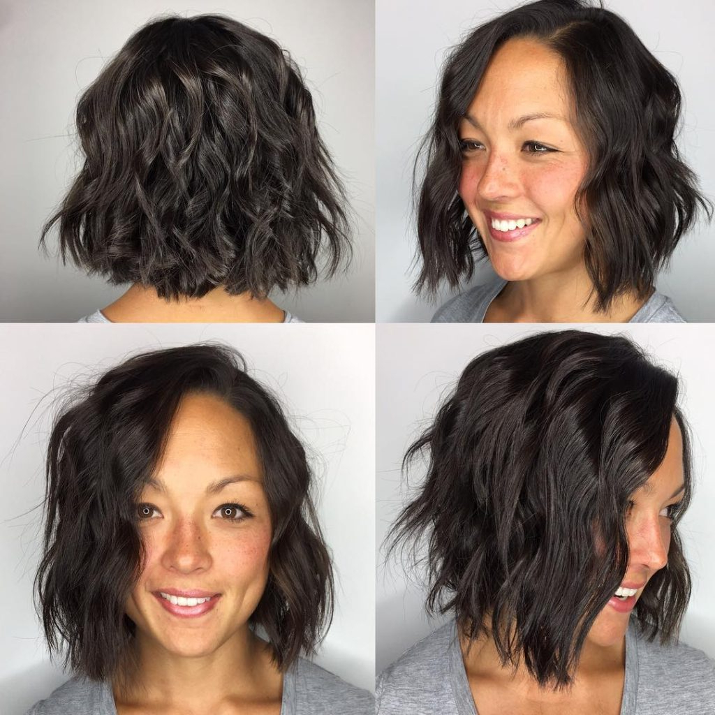Women's Choppy Brunette Bob With Undone Wavy Texture Medium Length Inside Brunette Bob Haircuts With Curled Ends (View 20 of 20)