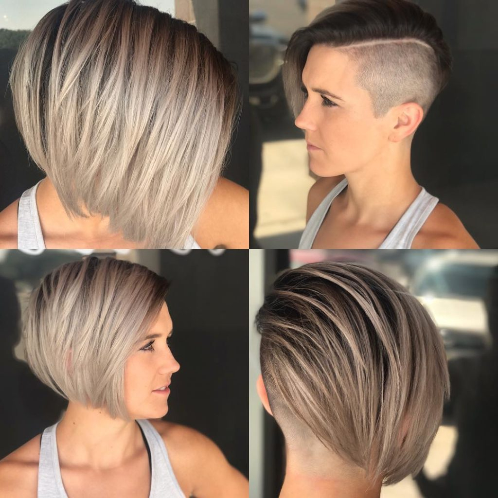 Women's Edgy Side Swept Blonde Undercut Bob Short Hairstyle Inside Blonde Bob Hairstyles With Tapered Side (View 12 of 20)