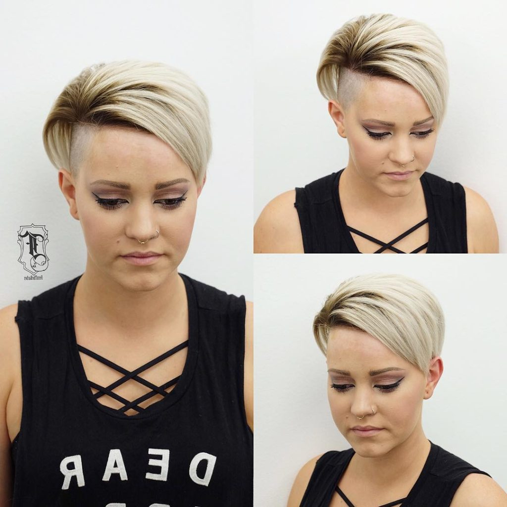 Women's Edgy Undercut Pixie With Platinum Color And Brunette Shadow With Regard To Long Blonde Pixie Haircuts With Root Fade (View 6 of 20)