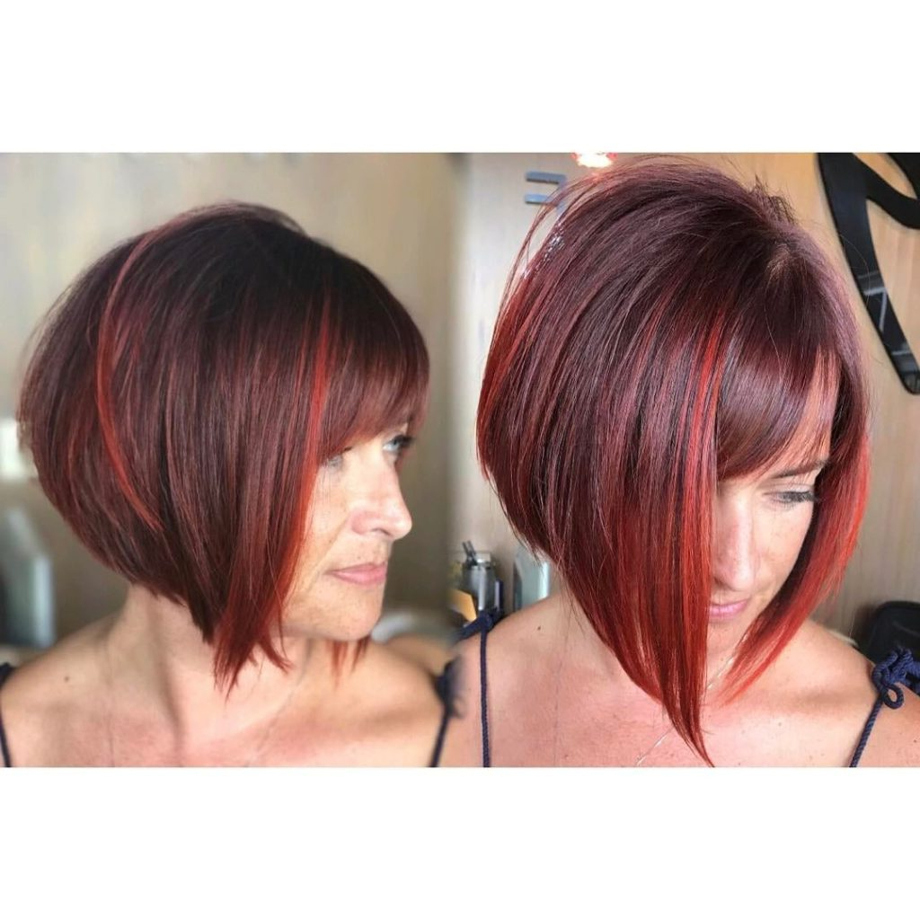 Women's Inverted Bob With Side Swept Bangs On Burgundy Hair With Red For Stacked Bob Hairstyles With Highlights (View 20 of 20)