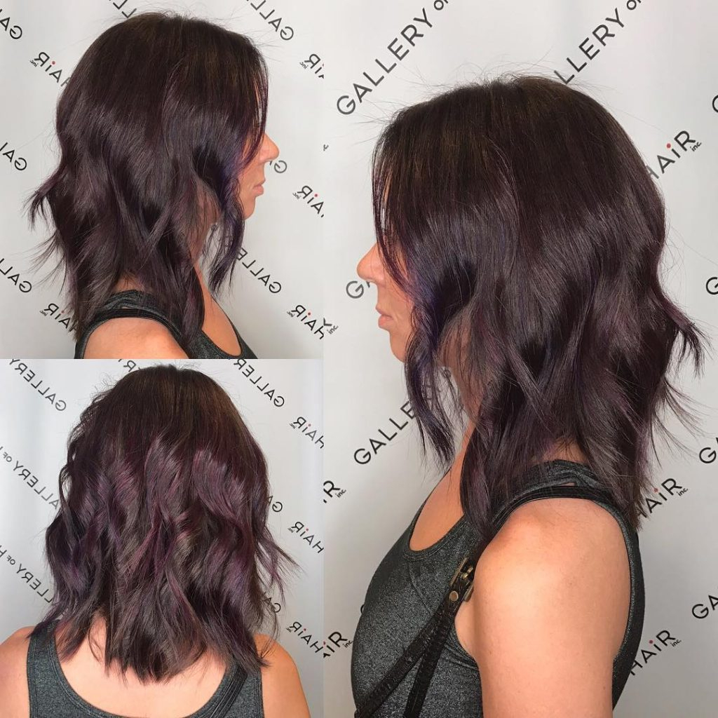 Women's Long Wavy Layered Bob With Brunette Violet Balayage Medium In Layered Balayage Bob Hairstyles (View 20 of 20)
