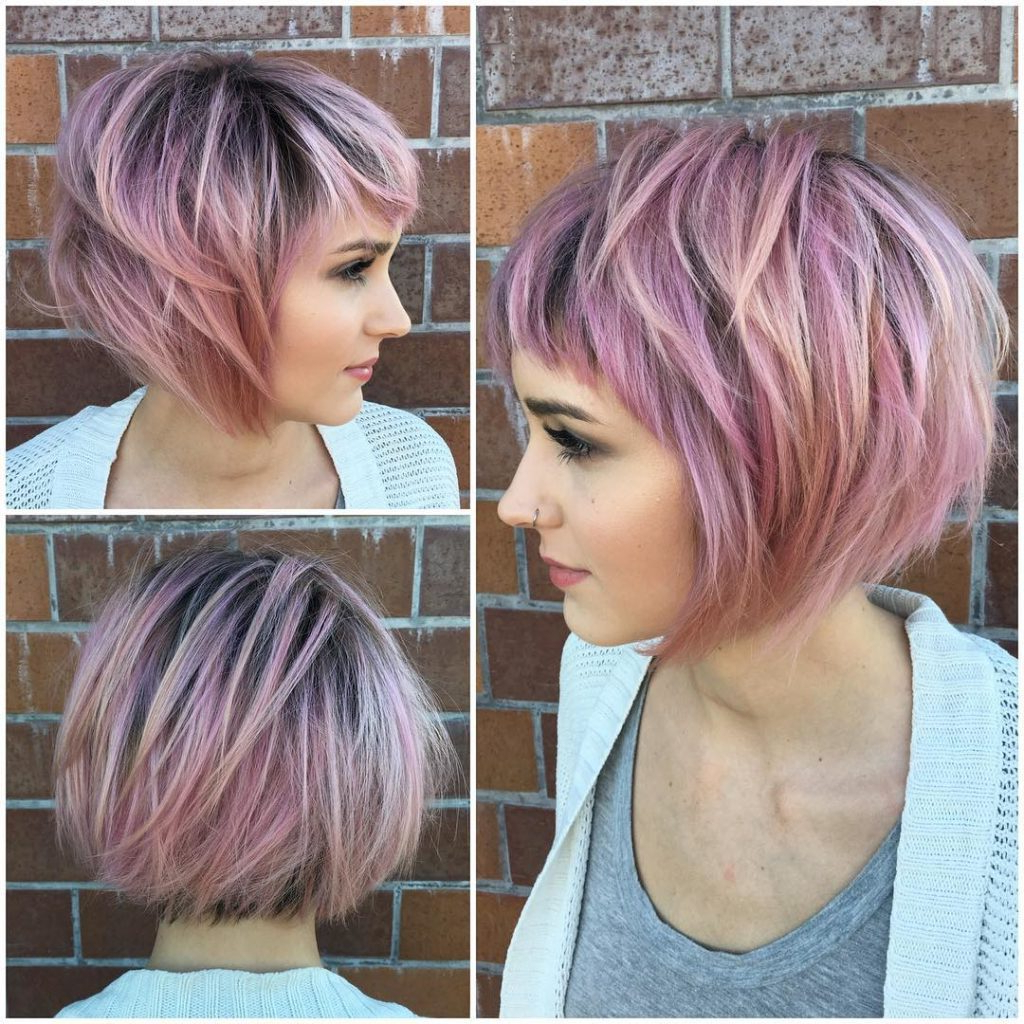 Women's Messy Choppy Pink Highlighted Bob With Baby Bangs Short Intended For Pastel Pink Textured Pixie Hairstyles (View 4 of 20)