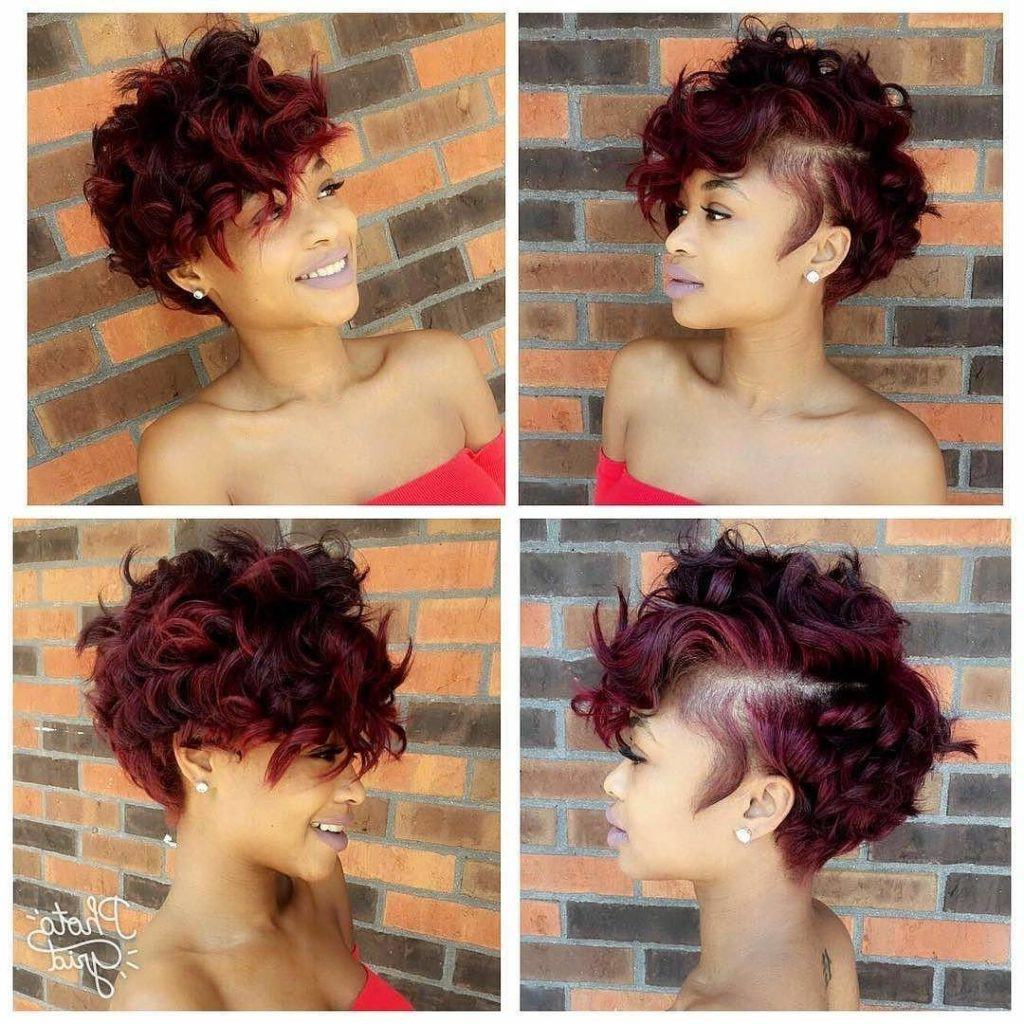 Women's Sexy Burgundy Messy Curly Pixie Short Hairstyle With Curly Golden Brown Pixie Hairstyles (View 20 of 20)