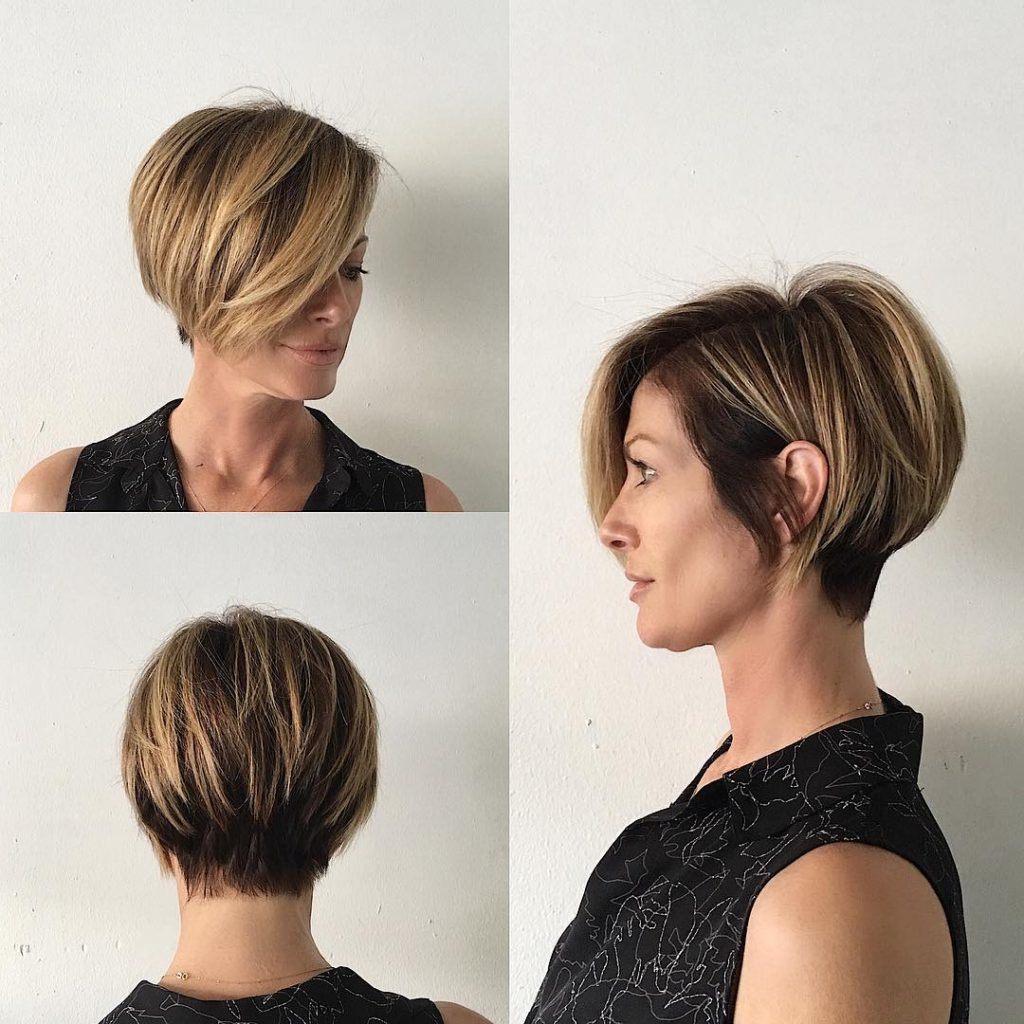 Women's Short Blonde Highlighted Bob With Stacked Layers And Long In Layered Bob Hairstyles With Swoopy Side Bangs (View 12 of 20)