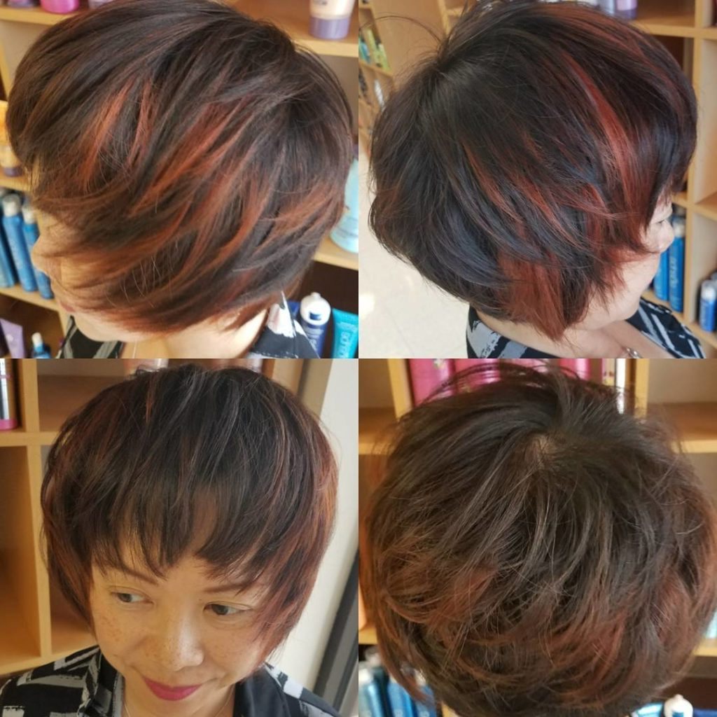 Women's Short Shaggy Page Boy On Brunette Hair With Red Highlights Inside Short Crop Hairstyles With Colorful Highlights (View 20 of 20)