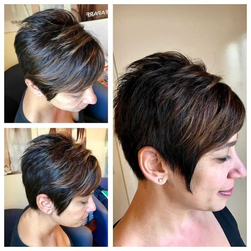 Women's Short Spiky Textured Pixie With Side Swept Bangs And Dark With Highlighted Pixie Bob Hairstyles With Long Bangs (View 18 of 20)