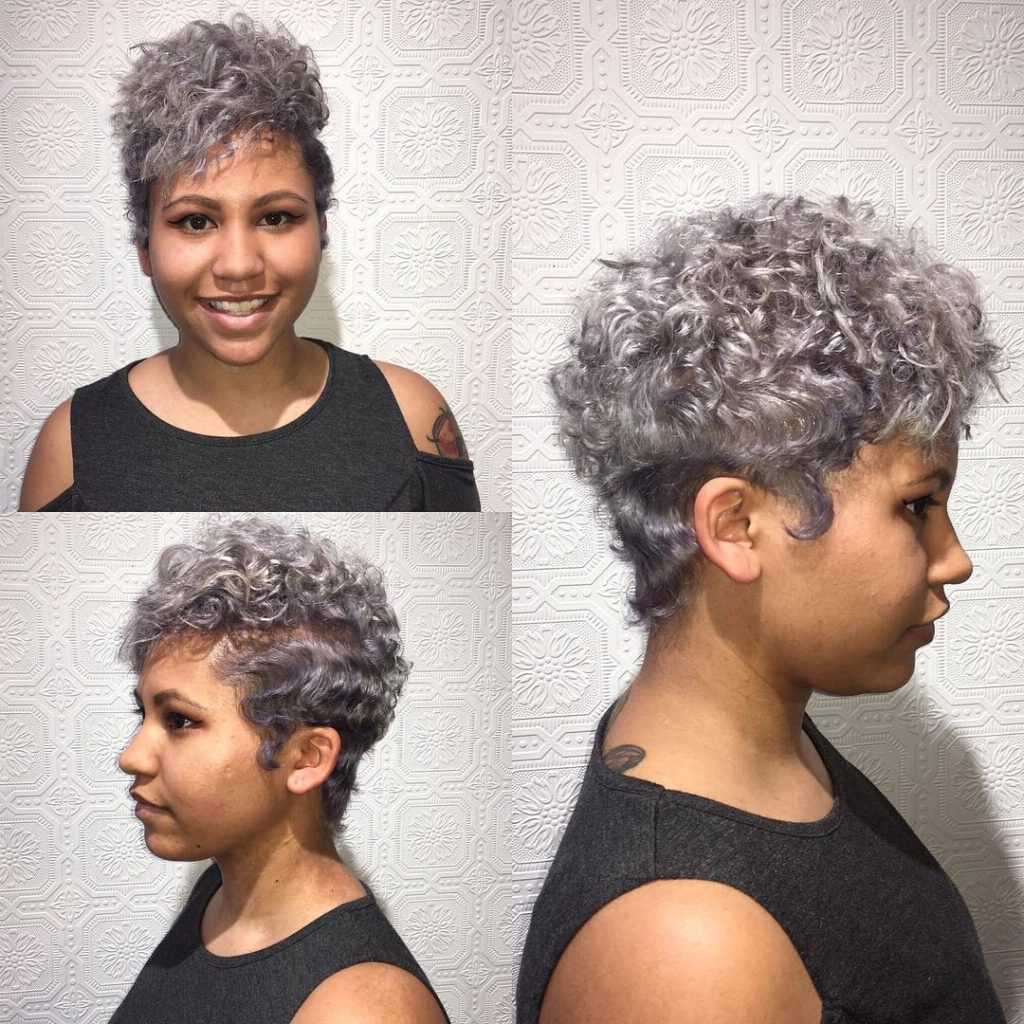 Women's Silver Messy Curly Pixie Cut With Top Volume Inside Messy Curly Pixie Hairstyles (View 20 of 20)