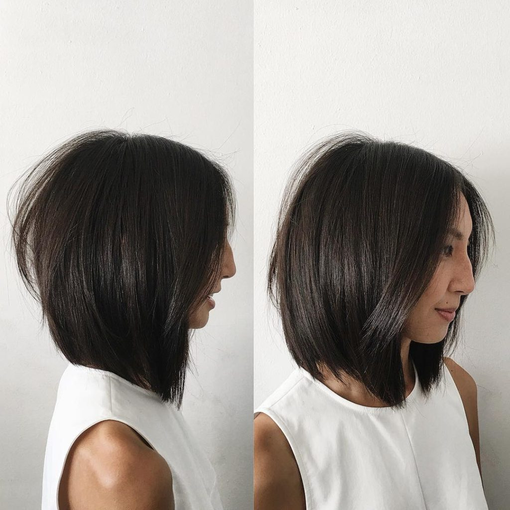 Women's Soft Layered Undercut Bob With Curtain Part And Straight In Straight Textured Angled Bronde Bob Hairstyles (View 9 of 20)