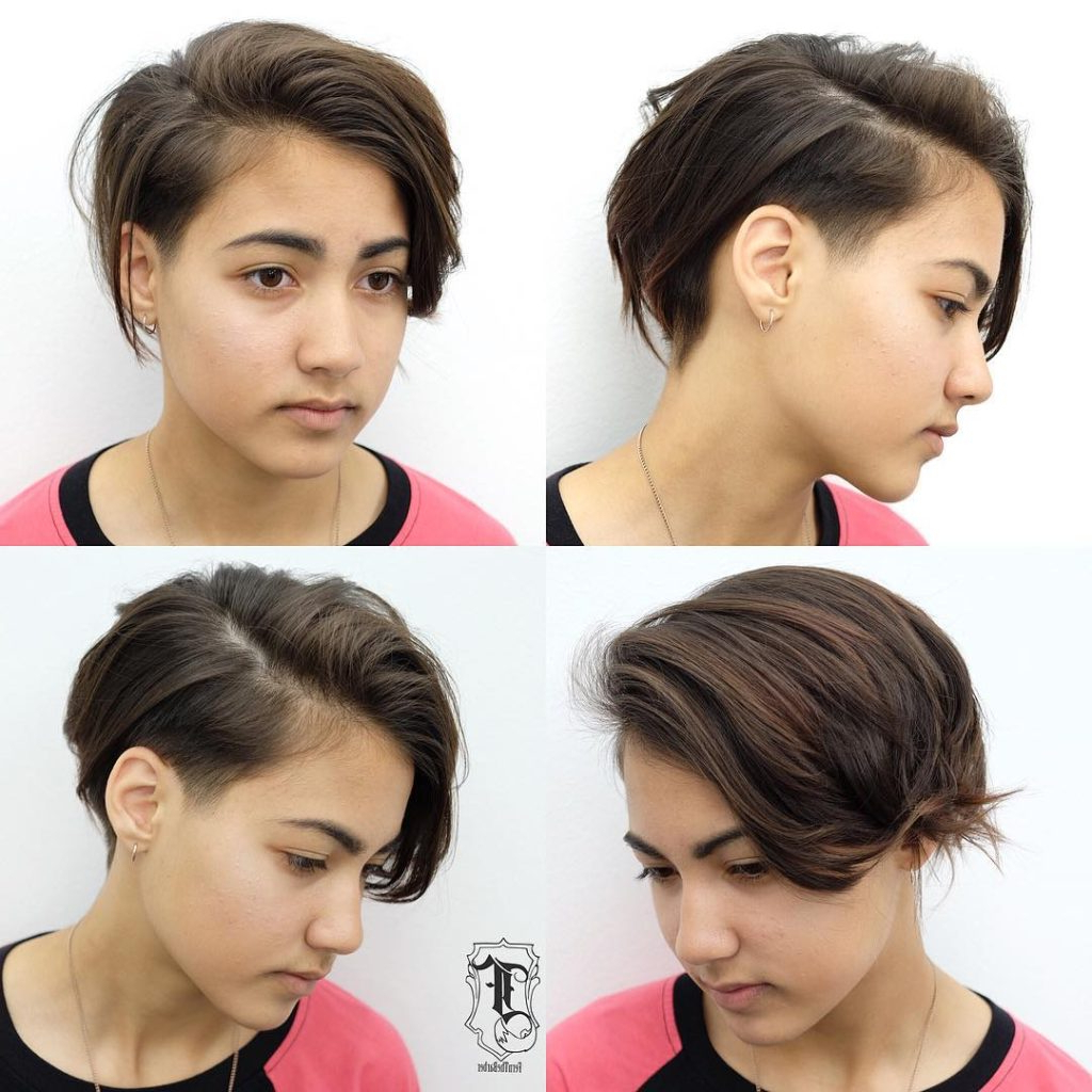 Women's Undone Side Swept Pixie With Tapered Undercut And Brunette Throughout Sweeping Pixie Hairstyles With Undercut (View 3 of 20)