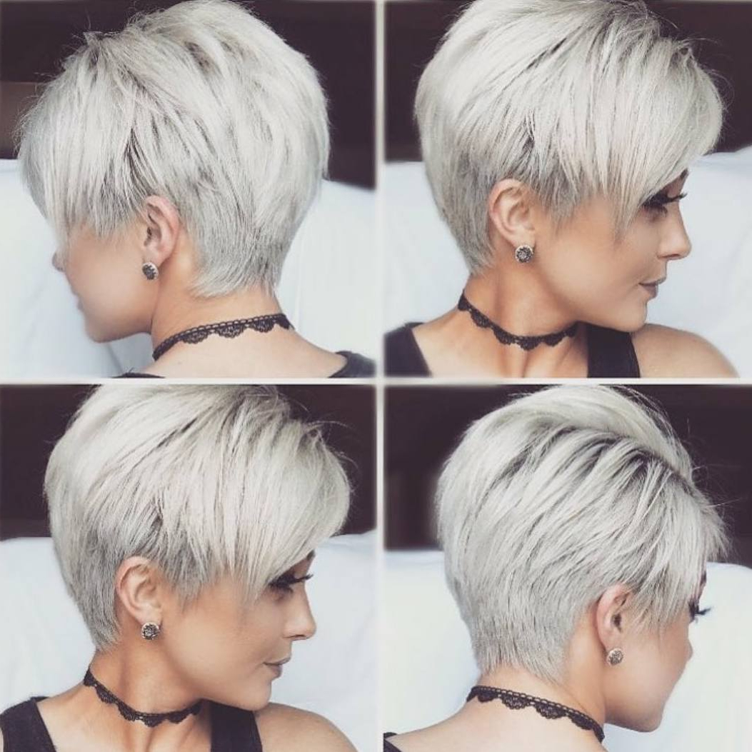 10 New Short Hairstyles For Thick Hair 2019 In Tapered Gray Pixie Hairstyles With Textured Crown (View 13 of 20)