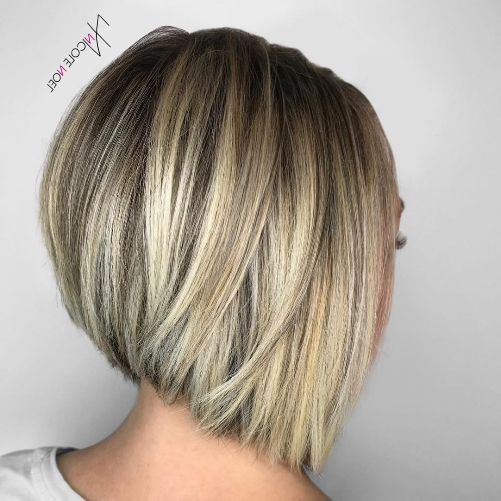 28 Most Flattering Bob Haircuts For Round Faces In 2018 With Regard To Blonde Balayage Bob Hairstyles With Angled Layers (View 11 of 20)