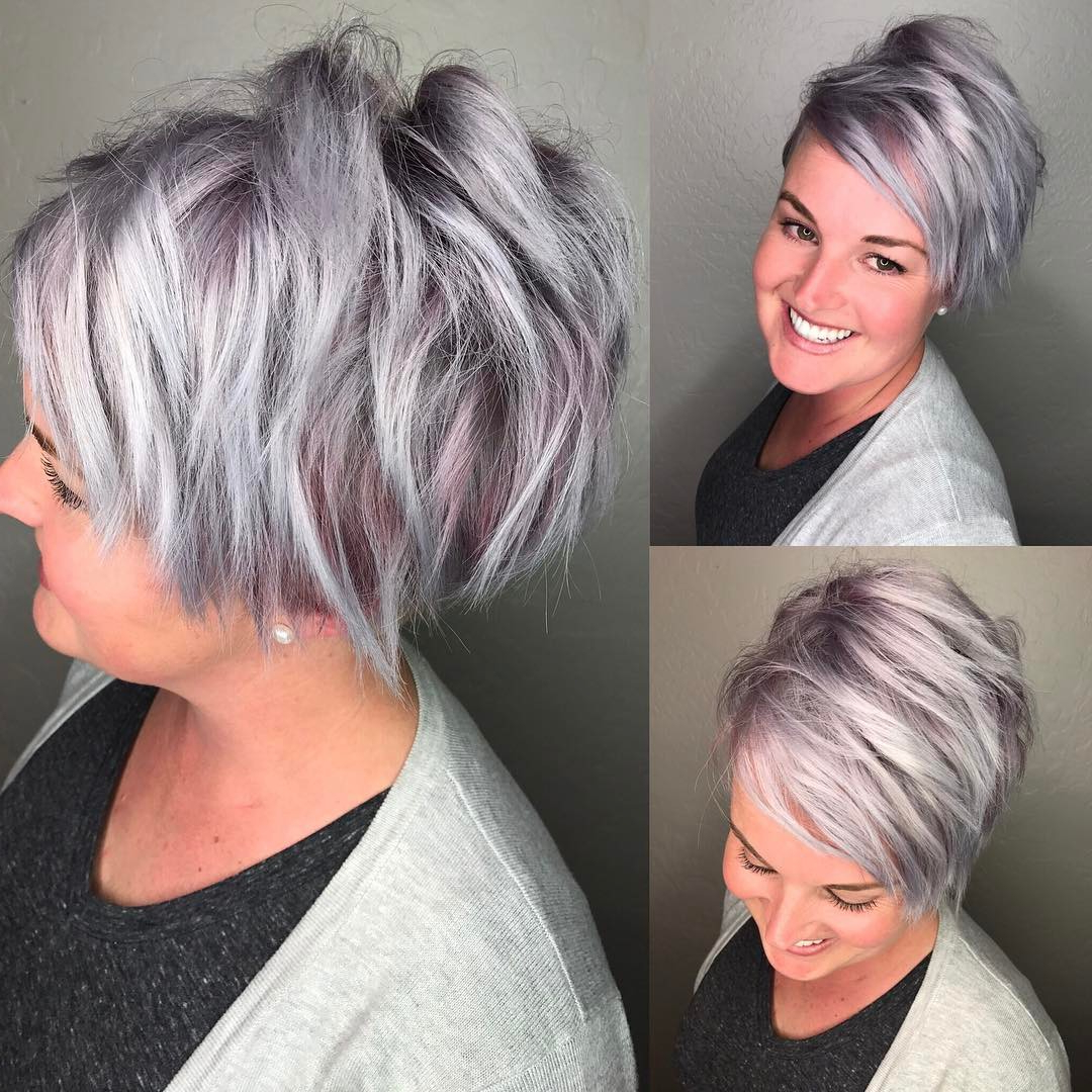 30 Cute Pixie Cuts: Short Hairstyles For Oval Faces – Popular Haircuts Inside Asymmetrical Silver Pixie Hairstyles (View 16 of 20)