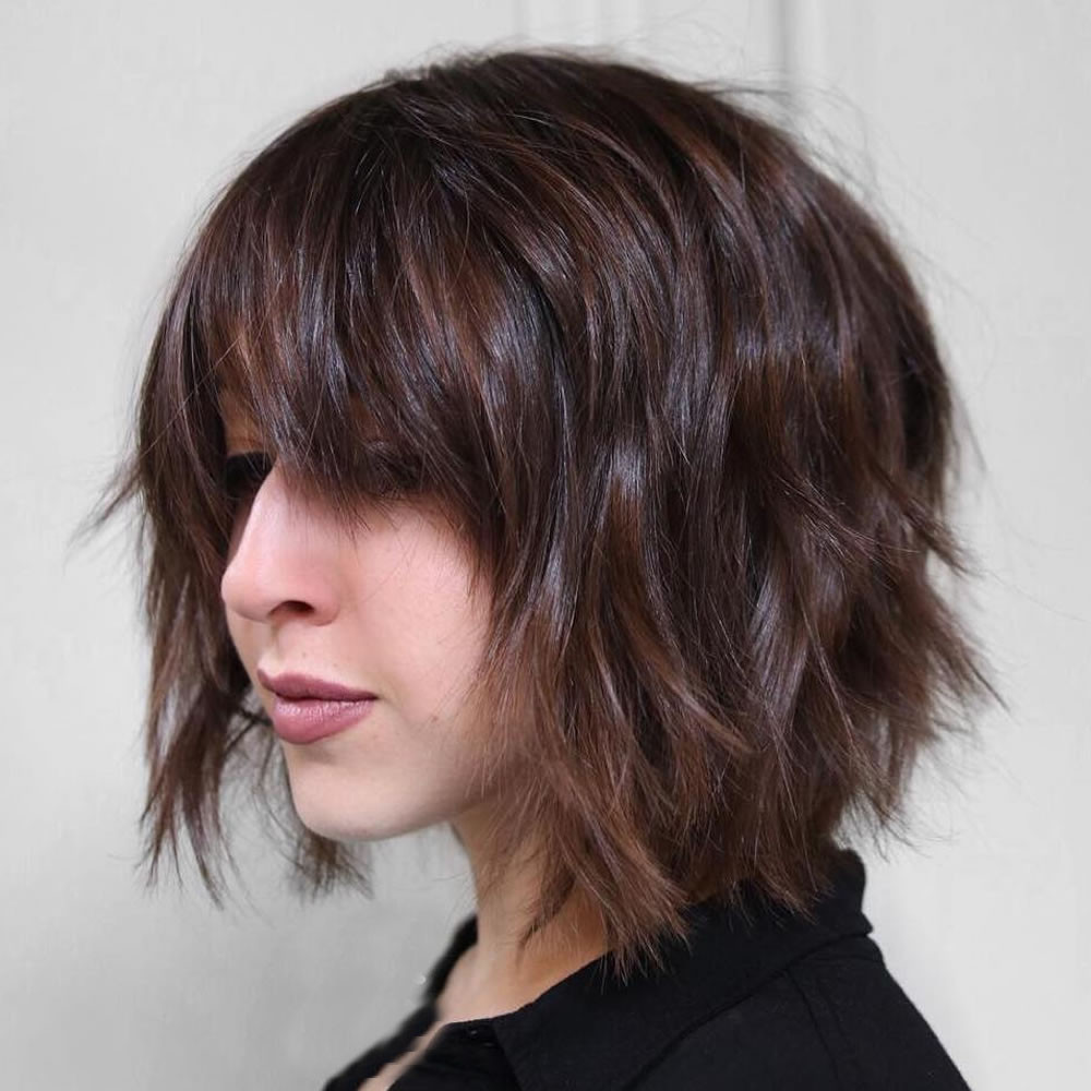 33 Best Short Bob Haircuts With Bangs And Layered Bob Hairstyles In Layered Bob Hairstyles For Fine Hair (View 4 of 20)