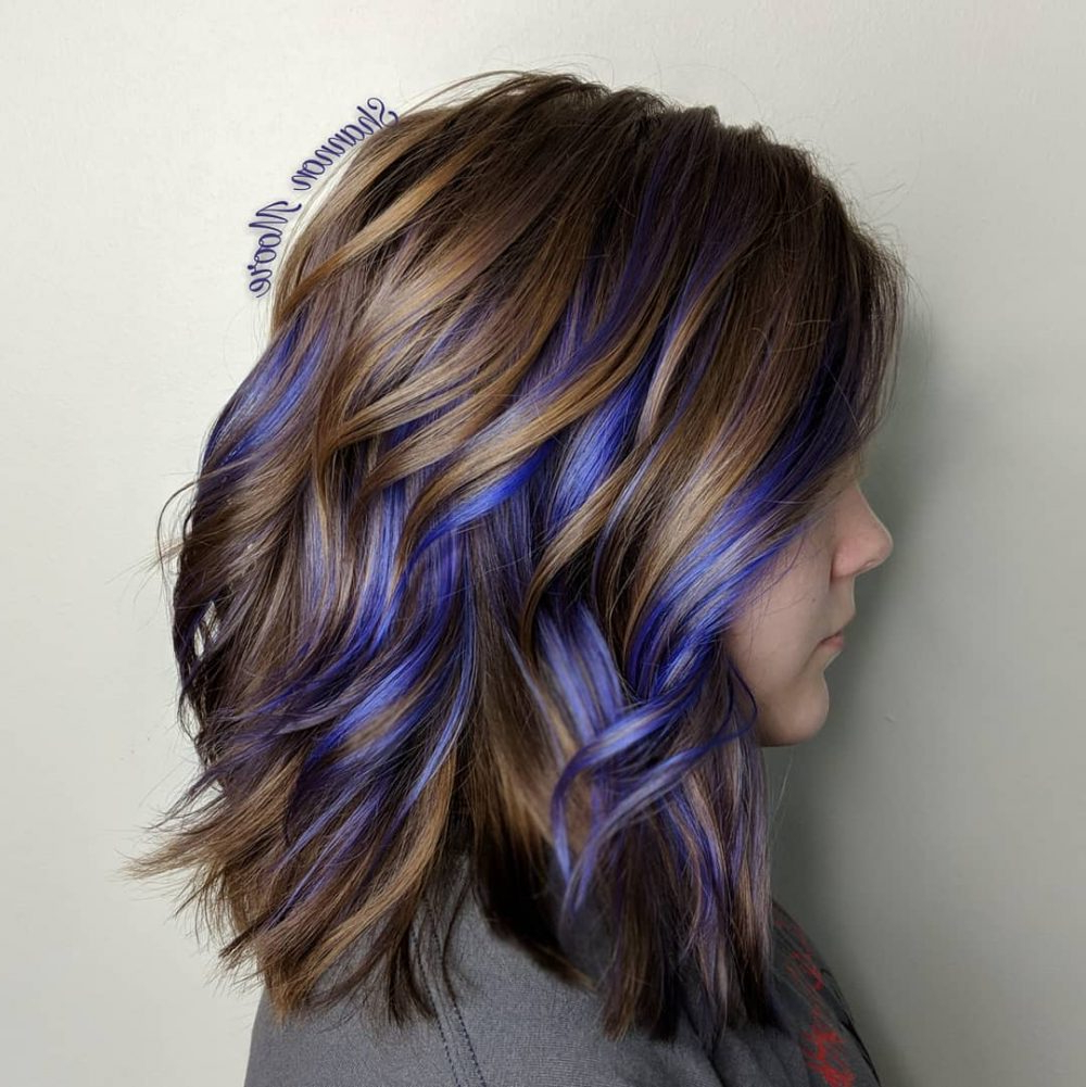 33 Cutest Peekaboo Highlights You'll Ever See In 2018 Within Silver Bob Hairstyles With Hint Of Purple (View 16 of 20)