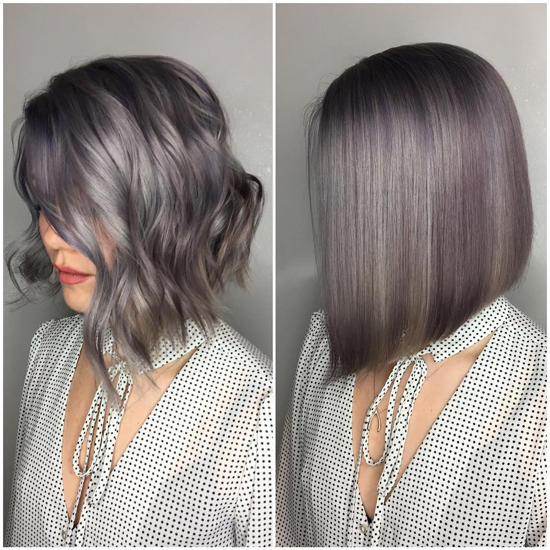 38 Super Cute Ways To Curl Your Bob – Popular Haircuts For Women 2019 Inside Silver Bob Hairstyles With Hint Of Purple (View 3 of 20)