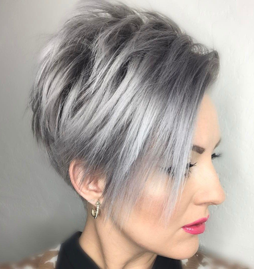 40 Bold And Beautiful Short Spiky Haircuts For Women In 2018 With Cropped Gray Pixie Hairstyles With Swoopy Bangs (View 7 of 20)