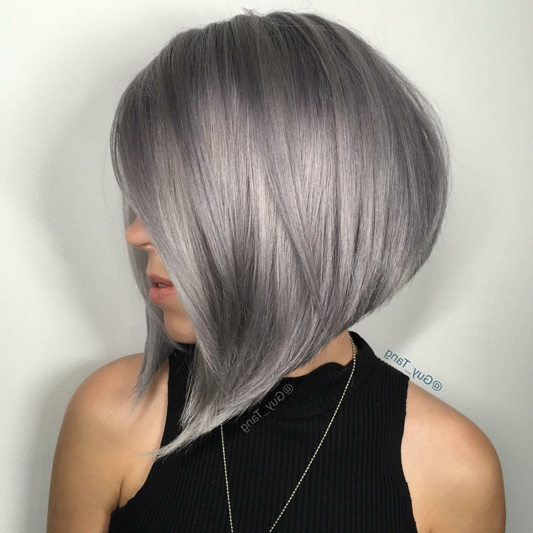 40 Super Cute Short Bob Hairstyles For Women 2018 | Styles Weekly Intended For Silver Bob Hairstyles With Hint Of Purple (View 8 of 20)