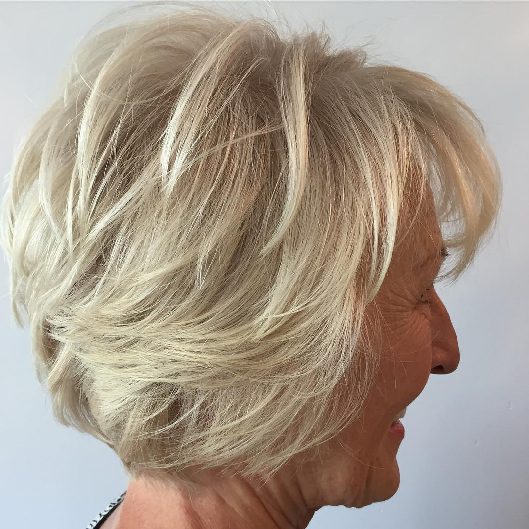 60 Best Hairstyles And Haircuts For Women Over 60 To Suit Any Taste In Layered Tousled Salt And Pepper Bob Hairstyles (View 14 of 20)