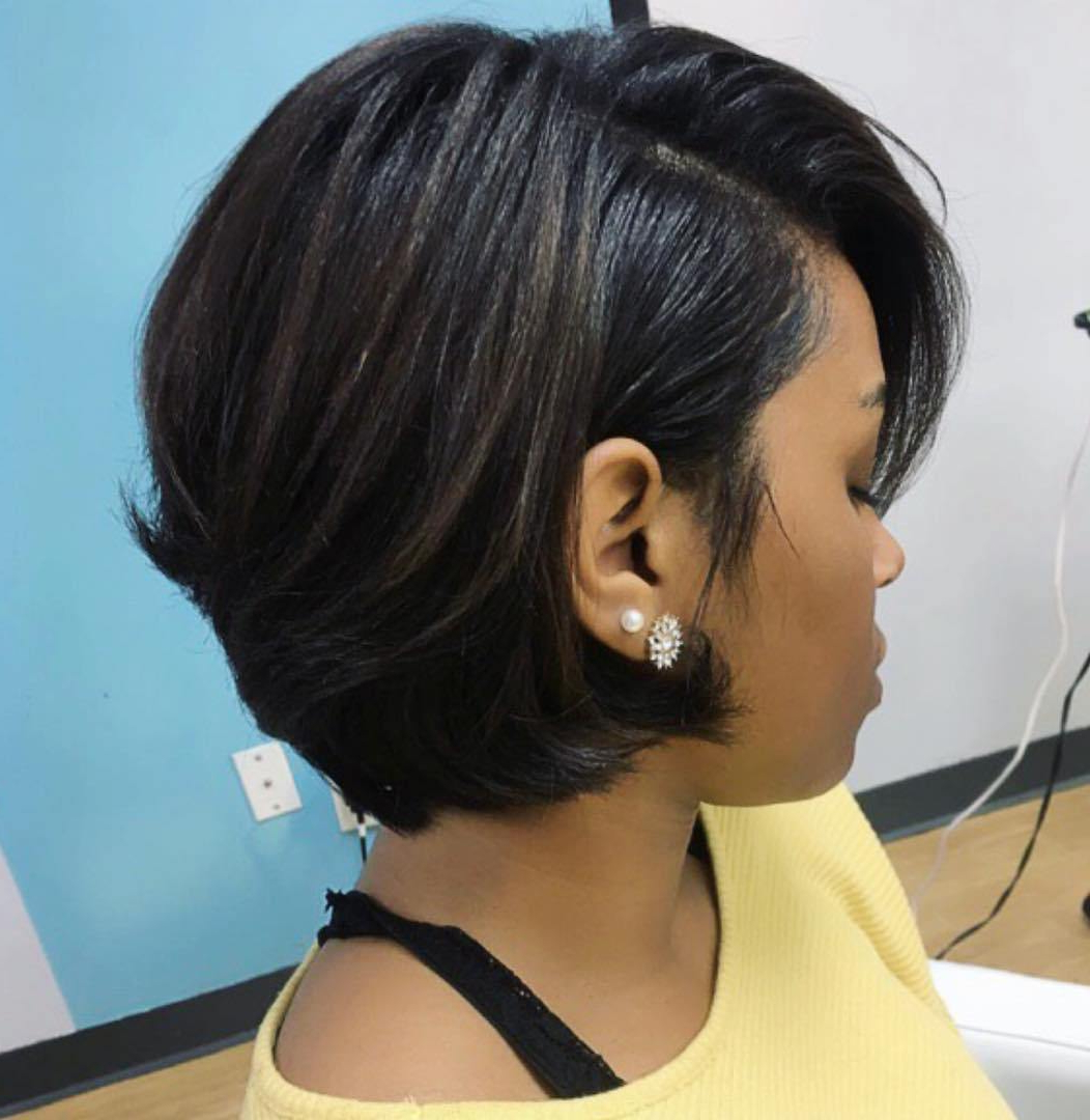 60 Showiest Bob Haircuts For Black Women Inside Feathered Back Swept Crop Hairstyles (View 12 of 20)
