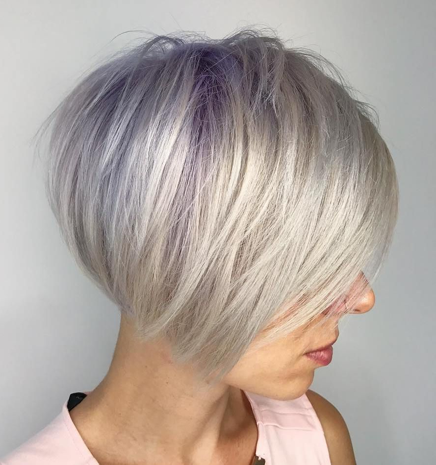 70 Cute And Easy To Style Short Layered Hairstyles | Beauty With Silver Bob Hairstyles With Hint Of Purple (View 9 of 20)