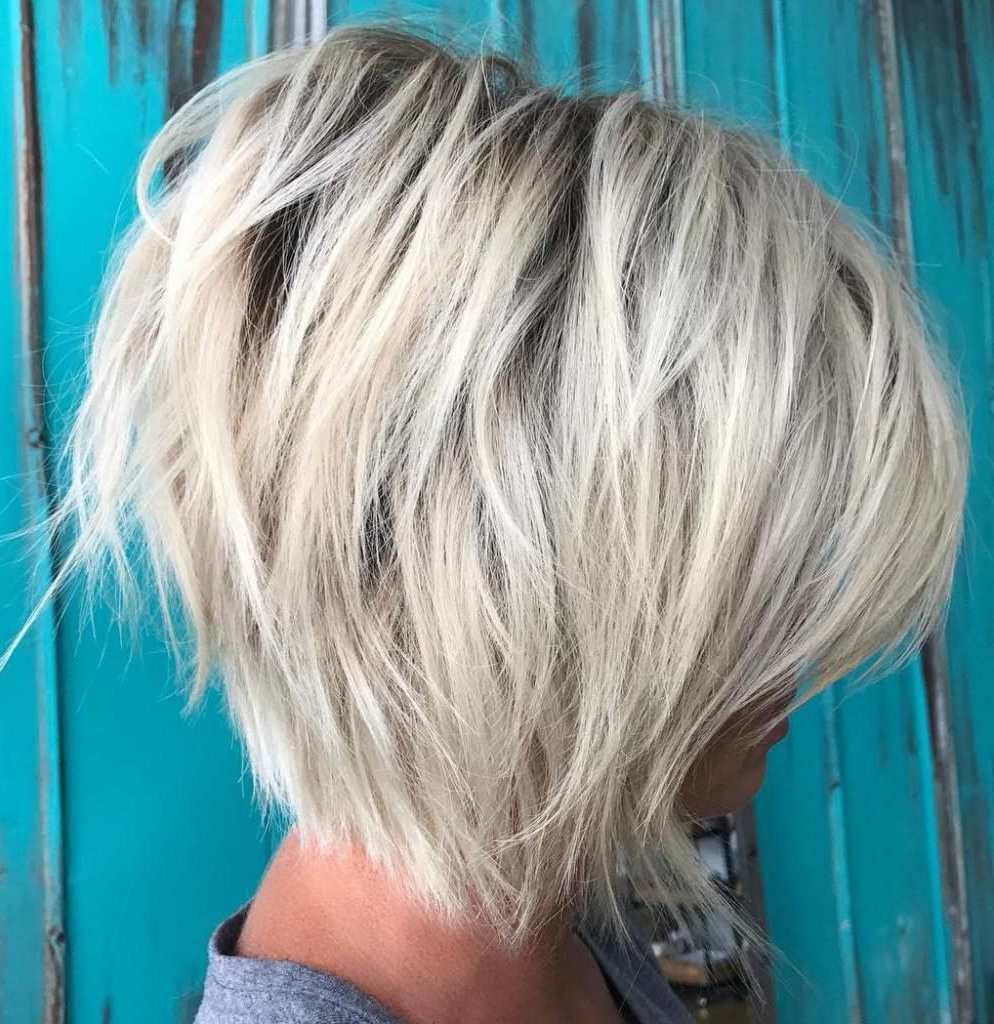 70 Cute And Easy To Style Short Layered Hairstyles | Platinum Bob Inside Layered Platinum Bob Hairstyles (Gallery 3 of 20)