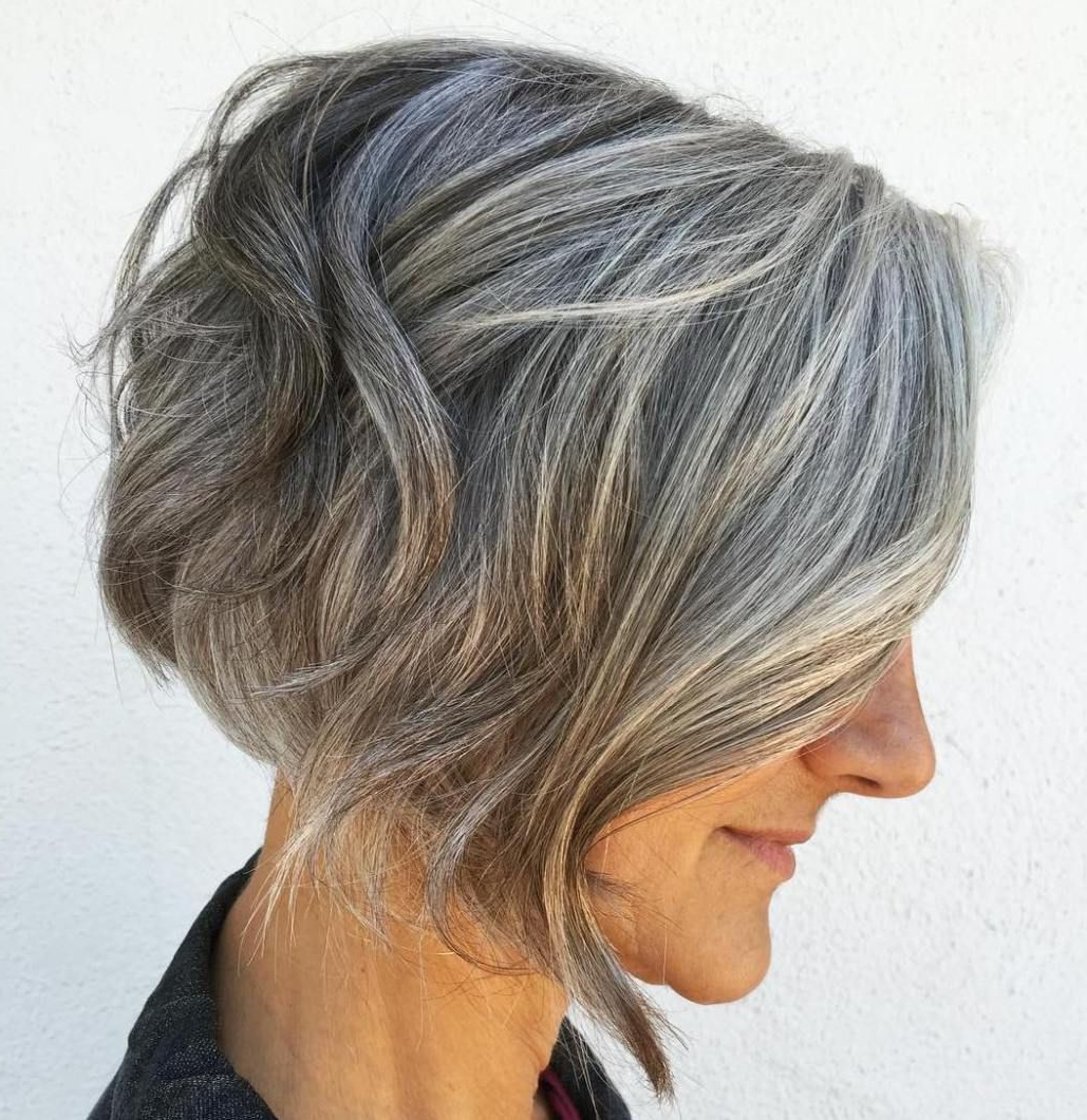 80 Best Modern Haircuts And Hairstyles For Women Over 50 In 2018 With Layered Tousled Salt And Pepper Bob Hairstyles (Gallery 1 of 20)