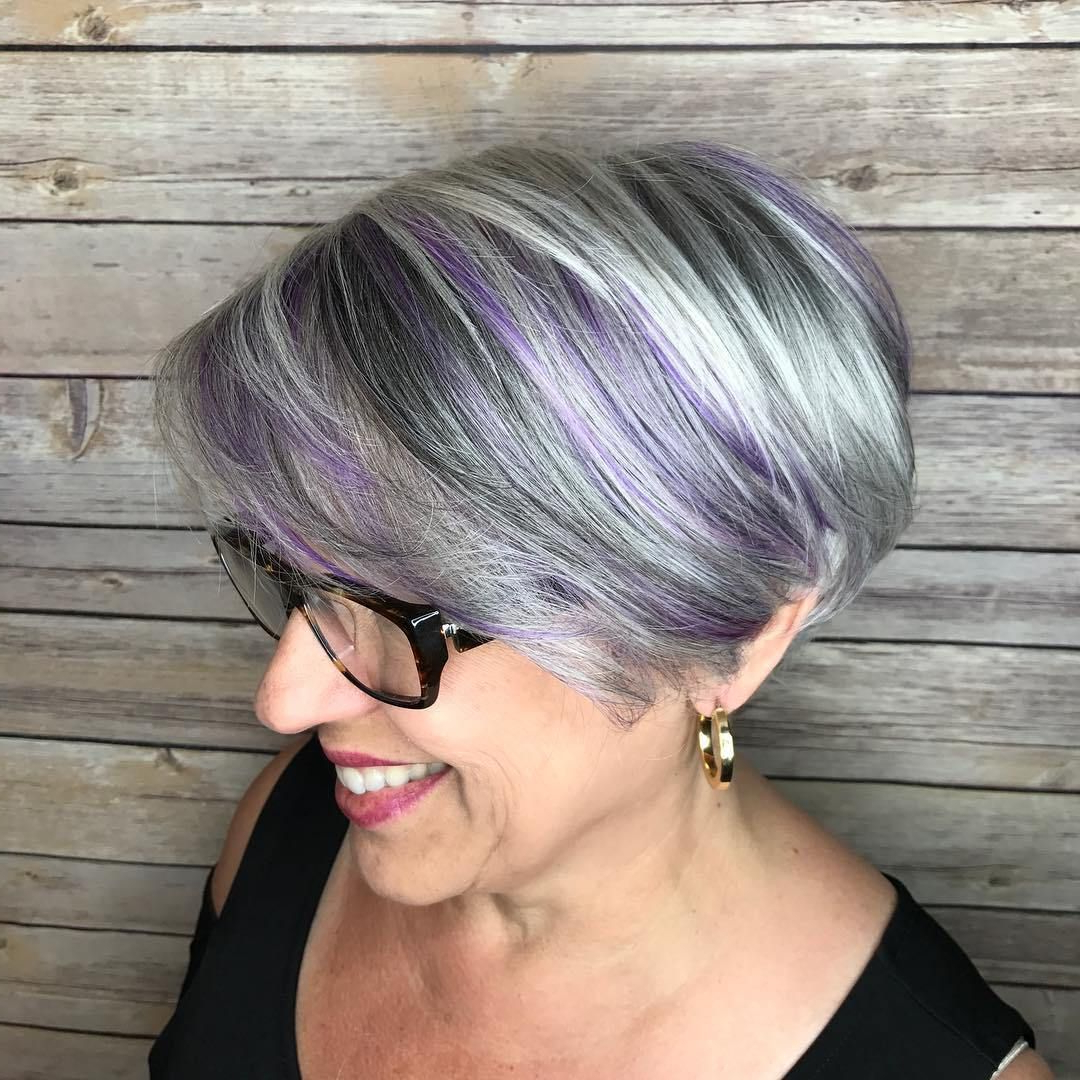 90 Classy And Simple Short Hairstyles For Women Over 50 | Bobs, Hair For Silver Bob Hairstyles With Hint Of Purple (View 2 of 20)