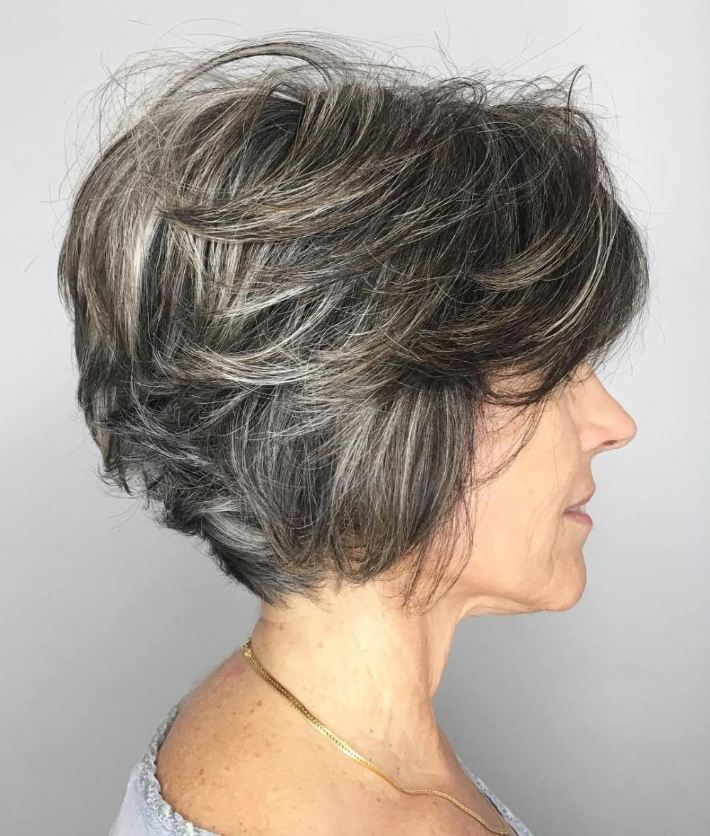 90 Classy And Simple Short Hairstyles For Women Over 50 | Bobs Within Layered Tousled Salt And Pepper Bob Hairstyles (Gallery 3 of 20)