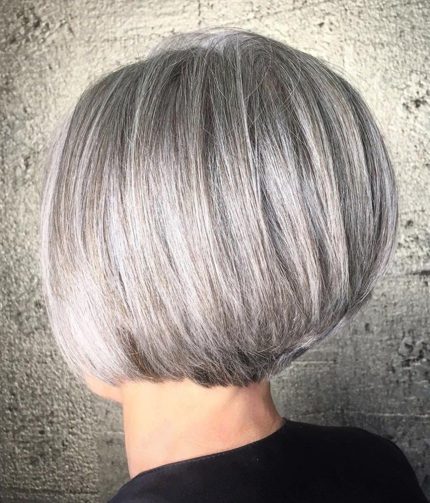 90 Classy And Simple Short Hairstyles For Women Over 50 In 2018 Regarding Gray Bob Hairstyles With Delicate Layers (View 14 of 20)