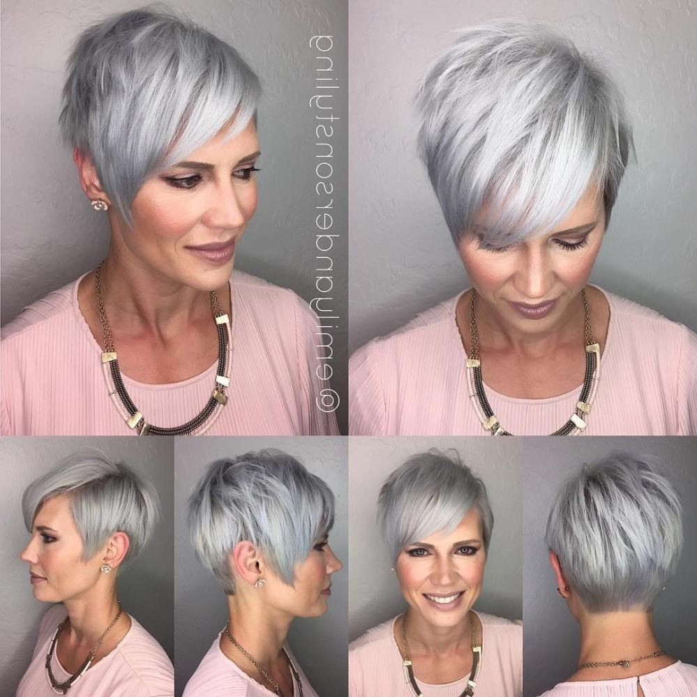 90 Classy And Simple Short Hairstyles For Women Over 50 | Love That With Regard To Asymmetrical Silver Pixie Hairstyles (View 4 of 20)