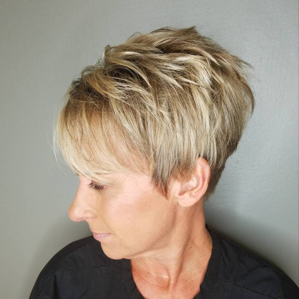 90 Classy And Simple Short Hairstyles For Women Over 50 | Pixies Regarding Choppy Pixie Hairstyles With Tapered Nape (Gallery 2 of 20)