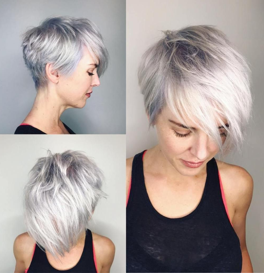 Featured Photo of Asymmetrical Silver Pixie Hairstyles