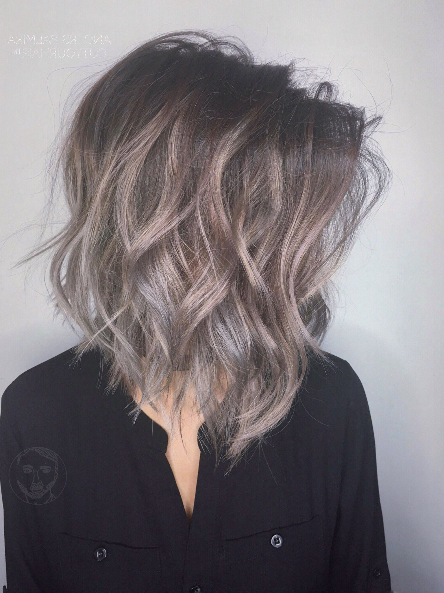 Photo Gallery Of One Length Balayage Bob Hairstyles With Bangs