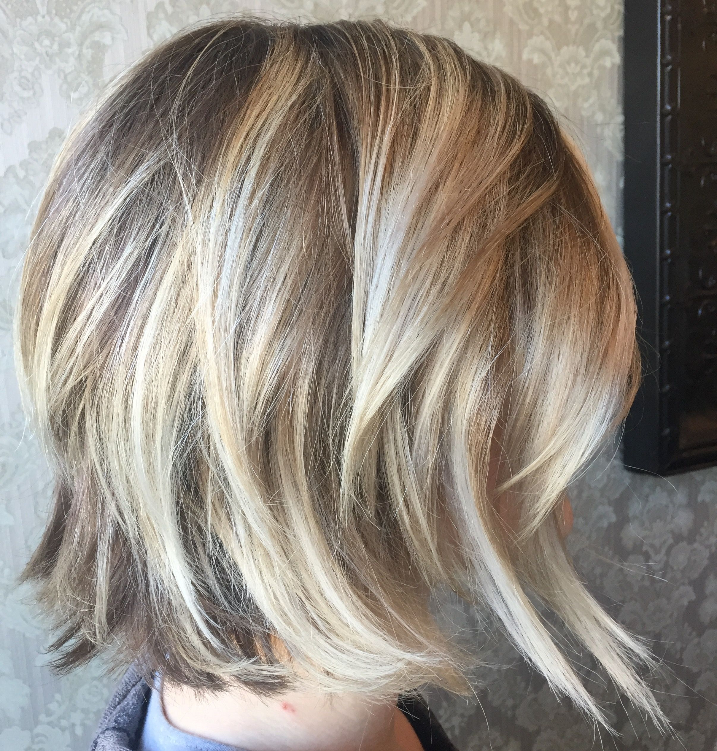 Blonde On Blonde Balayage Highlights, Angled Bob Haircut, Platinum Intended For Blonde Balayage Bob Hairstyles With Angled Layers (View 2 of 20)