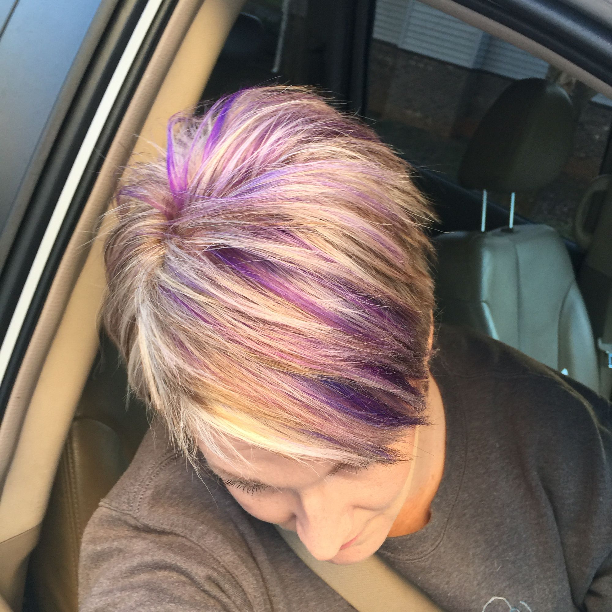 Blonde Pixie Haircut With Purple And Fuchsia Highlights! | Hair Hair In Messy Pixie Hairstyles With Chunky Highlights (View 12 of 20)