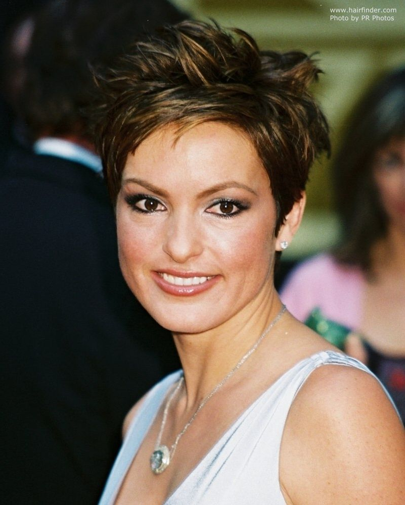 Choppy Pixie Haircuts Mariska Hargitay Wearing A Short Choppy Regarding Ruffled Pixie Hairstyles (View 18 of 20)
