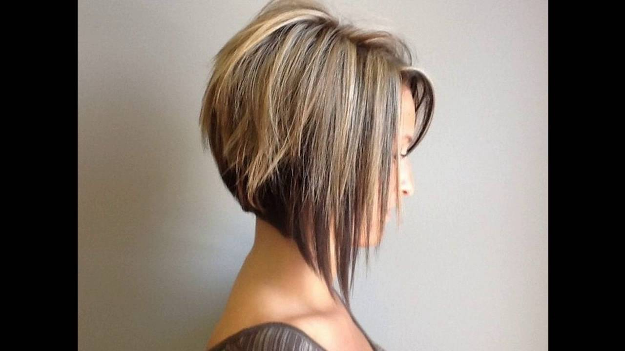 Graduated Bob Hairstyle Is Sexy For Round Faces Short Hair – Youtube Inside Layered Platinum Bob Hairstyles (Gallery 20 of 20)