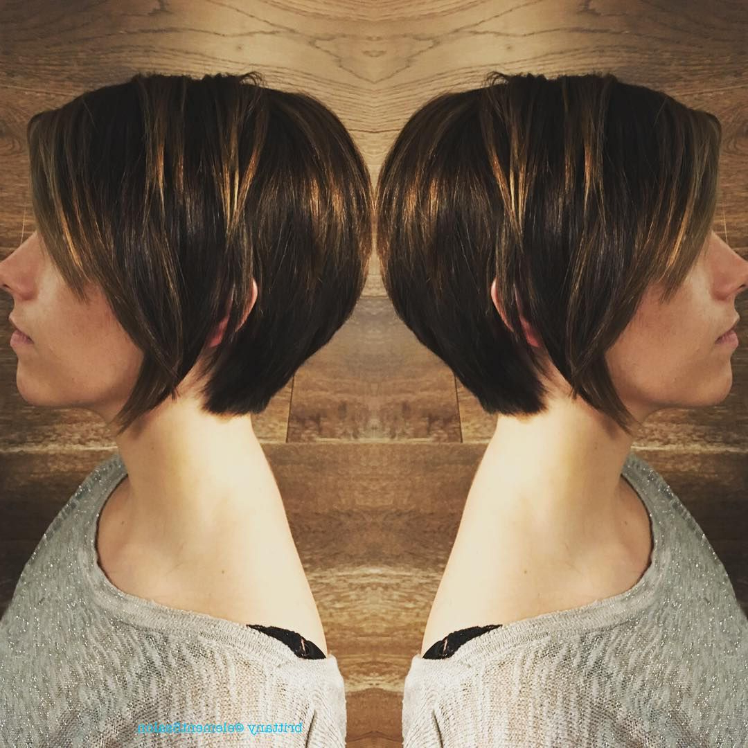 Long Textured Pixie With Caramel Highlights | Hairbrittany In Intended For Textured Pixie Hairstyles With Highlights (View 11 of 20)