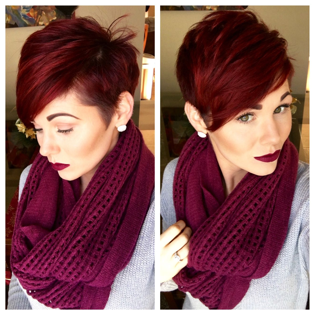 Pixie Cut And Red Violet Hair | Hairstyles/inspiration | Hair, Hair For Black Choppy Pixie Hairstyles With Red Bangs (View 10 of 20)