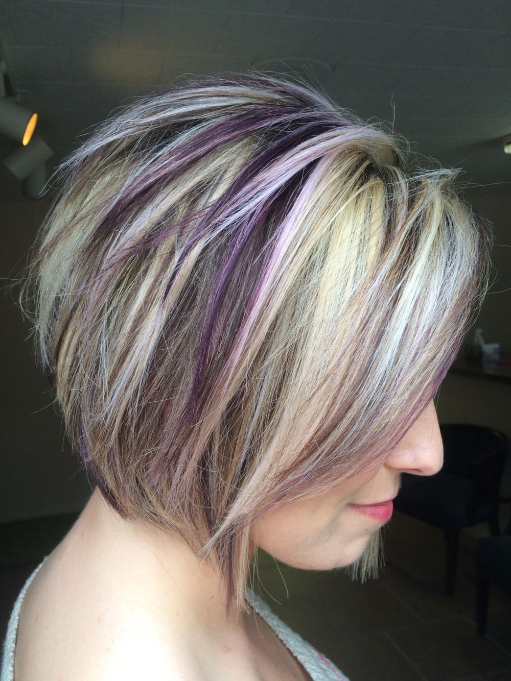 Purple Highlights! … | Short And Sassy Hair Styles In 2018… Inside Short Ruffled Hairstyles With Blonde Highlights (View 15 of 20)