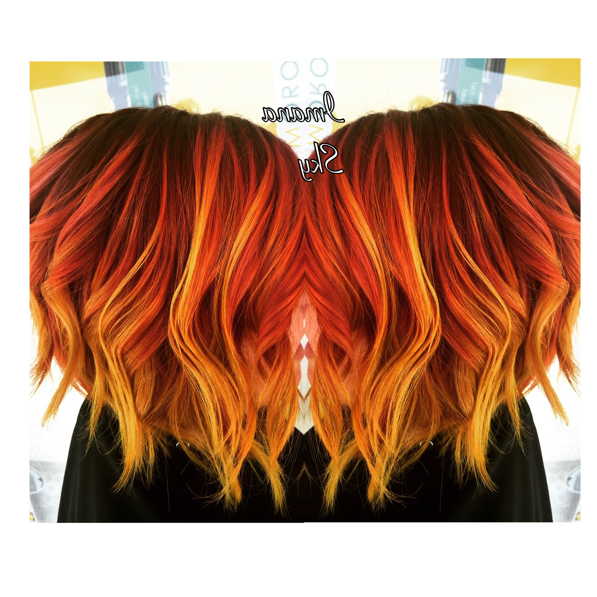 Purple Roots To Red Orange And Neon Yellow Flame /sunset Balayage Pertaining To Burnt Orange Bob Hairstyles With Highlights (View 15 of 20)