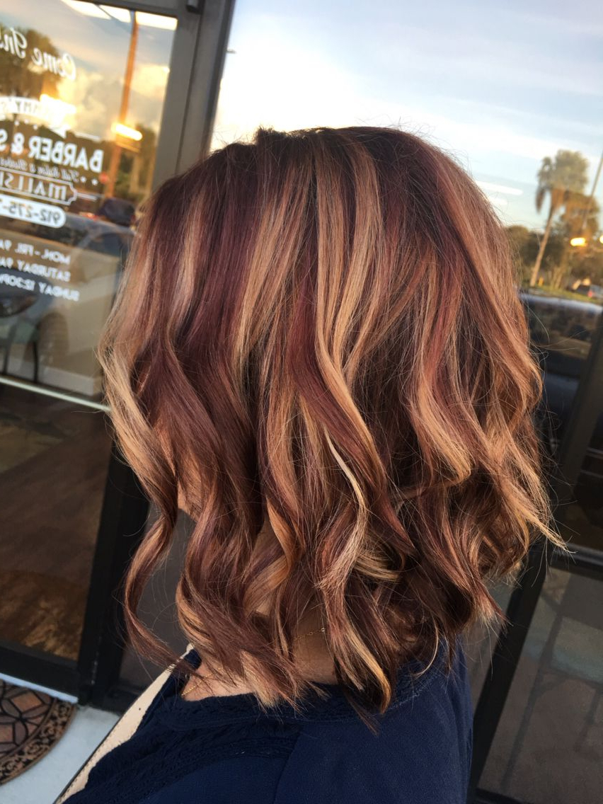 Rusk Copper Violet Base / Balayage Highlights /angle Bob / Curl With With Burnt Orange Bob Hairstyles With Highlights (View 16 of 20)