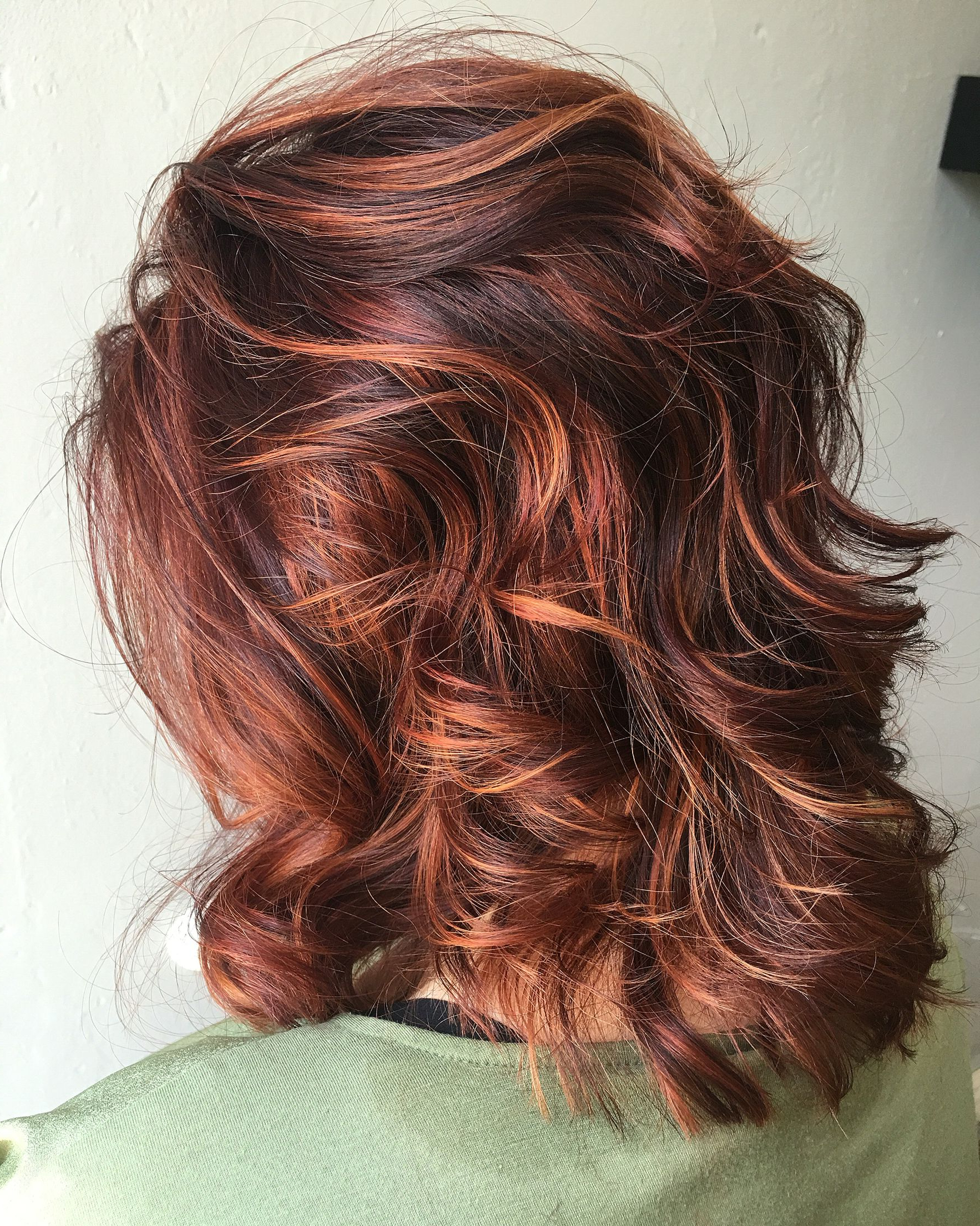 Rv Base With Copper/orange Highlights | Color, Curlz And Cuts Intended For Burnt Orange Bob Hairstyles With Highlights (Gallery 5 of 20)