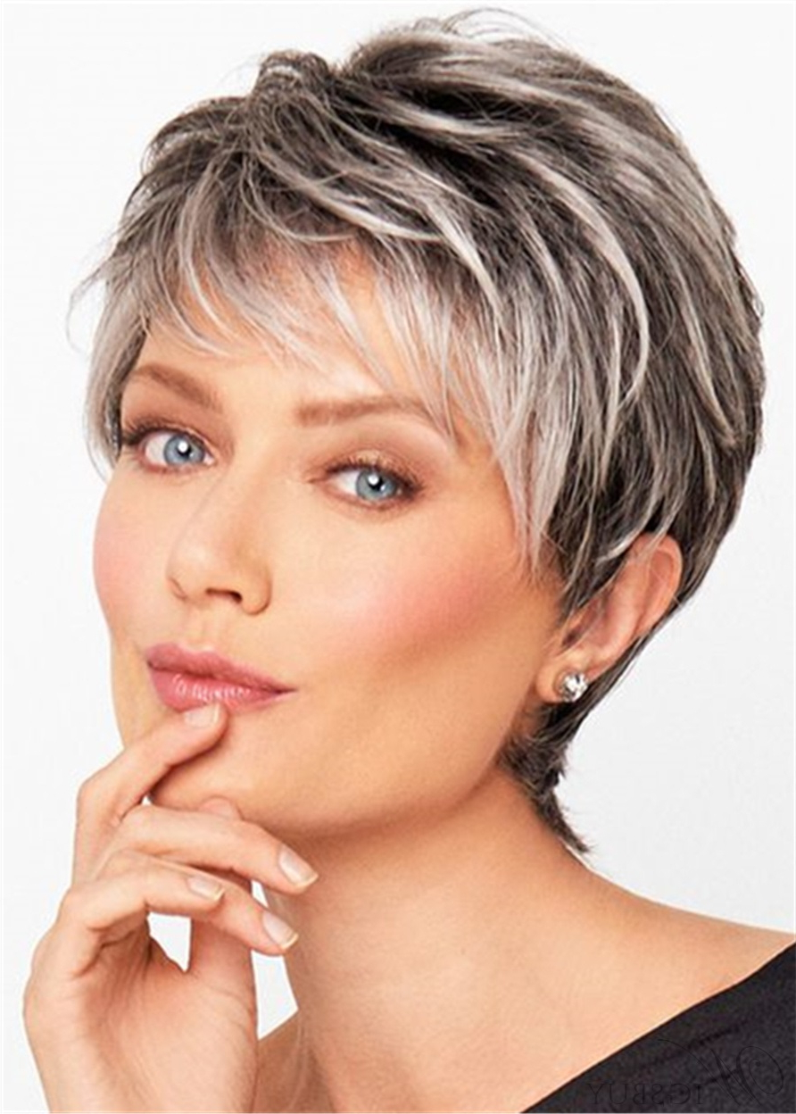 Salt And Pepper Short Choppy Layered Synthetic Capless Wigs: Wigsbuy Pertaining To Messy Salt And Pepper Pixie Hairstyles (View 13 of 20)