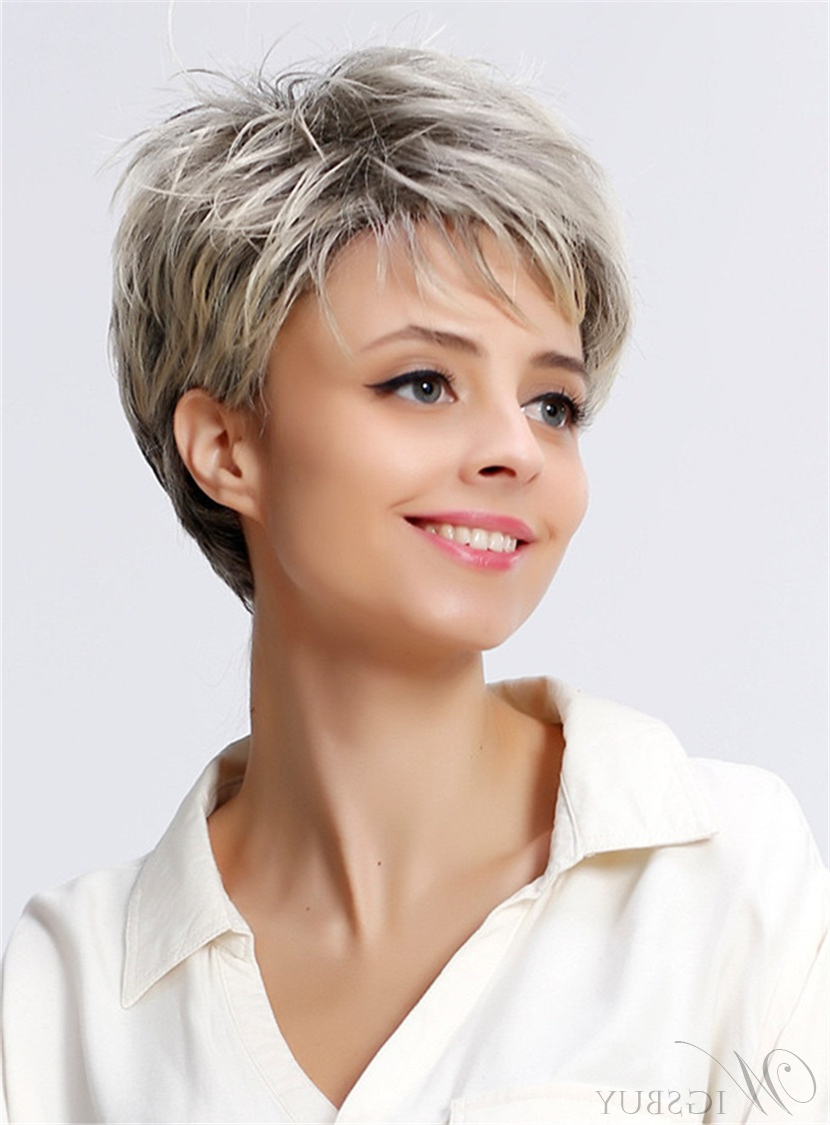 Salt And Pepper Short Layered Synthetic Capless Women Wigs: Wigsbuy In Messy Salt And Pepper Pixie Hairstyles (Gallery 17 of 20)